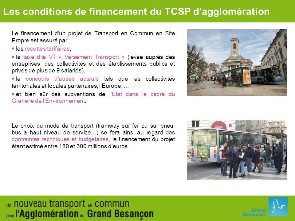 Le financement dun projet de Transport en Commun en Site Propre est assuré par : les recettes tarifaires, la taxe dite VT « Versement Transport » (lev