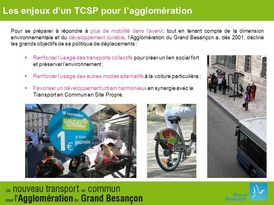 Les enjeux dun TCSP pour lagglomération des itinéraires de sites propres bus sur les axes TEMIS-Campus-Vauban et Boulevards nord ; un système TGV à deux gares (gare Viotte TGV - nouvelle gare TGV située à Auxon) reliées par une liaison ferroviaire à 3 haltes (Miserey-Salines, Ecole- Valentin, Portes de Vesoul) ; une ligne en site propre intégral reliant louest de lagglomération du Grand Besançon (Planoise-Hauts du Chazal) à lest de lagglomération (Palente- Chalezeule) via le centre-ville et desservant la gare Viotte TGV avec un matériel à forte capacité ; une complémentarité avec le réseau de bus Ginko.