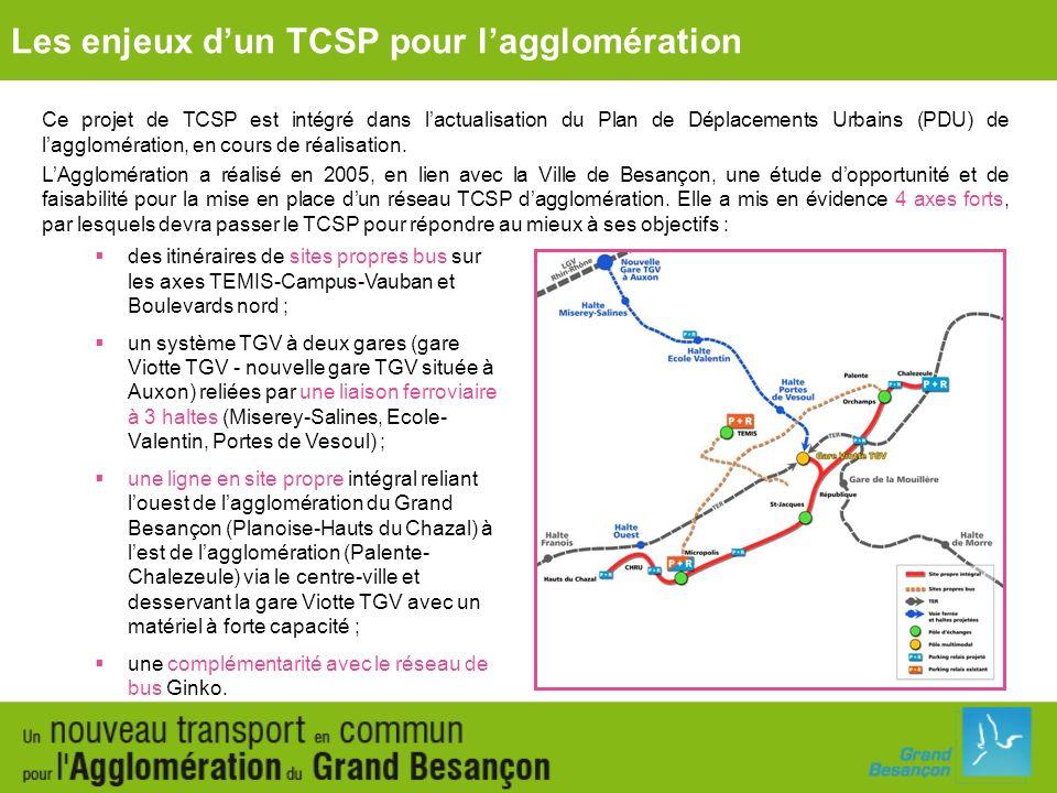 Le TCSP a comme objectifs : à louest : de transporter de nombreux voyageurs, de valoriser les deux projets daménagement des Hauts du Chazal et de Brûlard/Polygone et de desservir les équipements majeurs (CHU, Université…) ; vers la gare : de relier le centre-ville et la gare et dêtre un des éléments structurants du projet de pôle tertiaire Viotte ; au nord : dassurer la complémentarité avec la liaison ferroviaire (TER/TGV) ; à lest, au-delà de la bifurcation vers la gare : de structurer le futur écoquartier des Vaîtes et le pôle commercial des Marnières/Chalezeule.