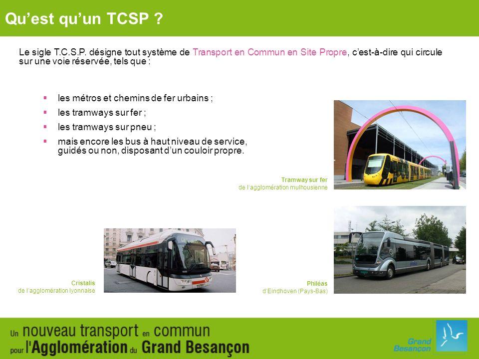 Le sigle T.C.S.P. désigne tout système de Transport en Commun en Site Propre, cest-à-dire qui circule sur une voie réservée, tels que : les métros et