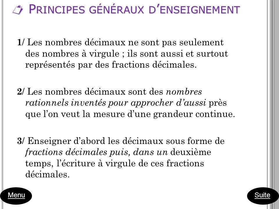 P RINCIPES GÉNÉRAUX D ENSEIGNEMENT P RINCIPES GÉNÉRAUX D ENSEIGNEMENT Menu 1 / Les nombres décimaux ne sont pas seulement des nombres à virgule ; ils