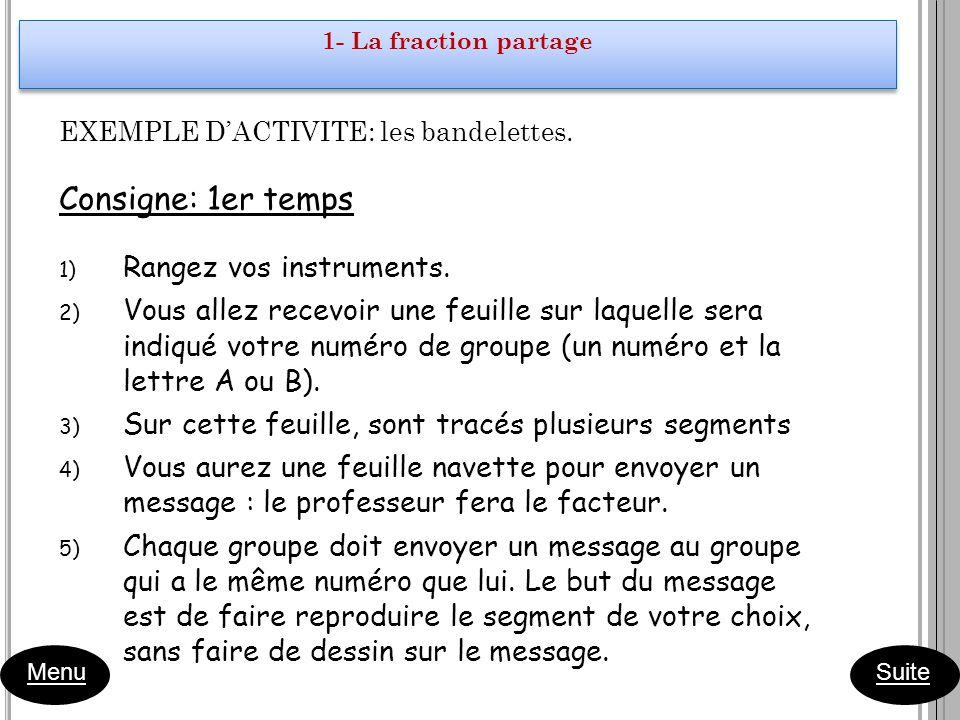 EXEMPLE DACTIVITE: les bandelettes. Consigne: 1er temps 1) Rangez vos instruments. 2) Vous allez recevoir une feuille sur laquelle sera indiqué votre