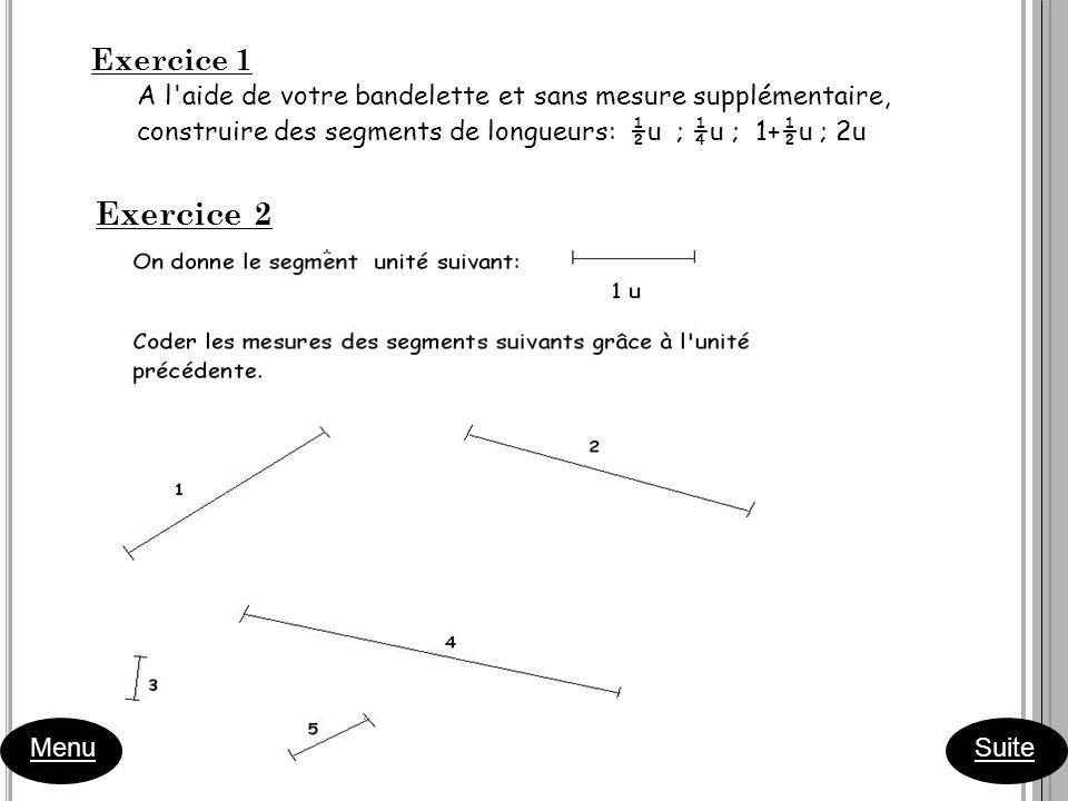 Exercice 1 A l'aide de votre bandelette et sans mesure supplémentaire, construire des segments de longueurs: ½u ; ¼u ; 1+½u ; 2u Exercice 2 Menu Suite