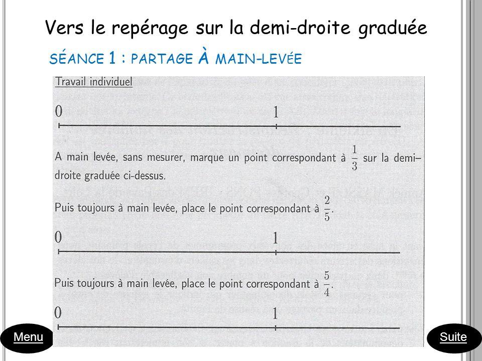 Vers le repérage sur la demi-droite graduée Menu Suite SÉANCE 1 : PARTAGE À MAIN - LEV É E