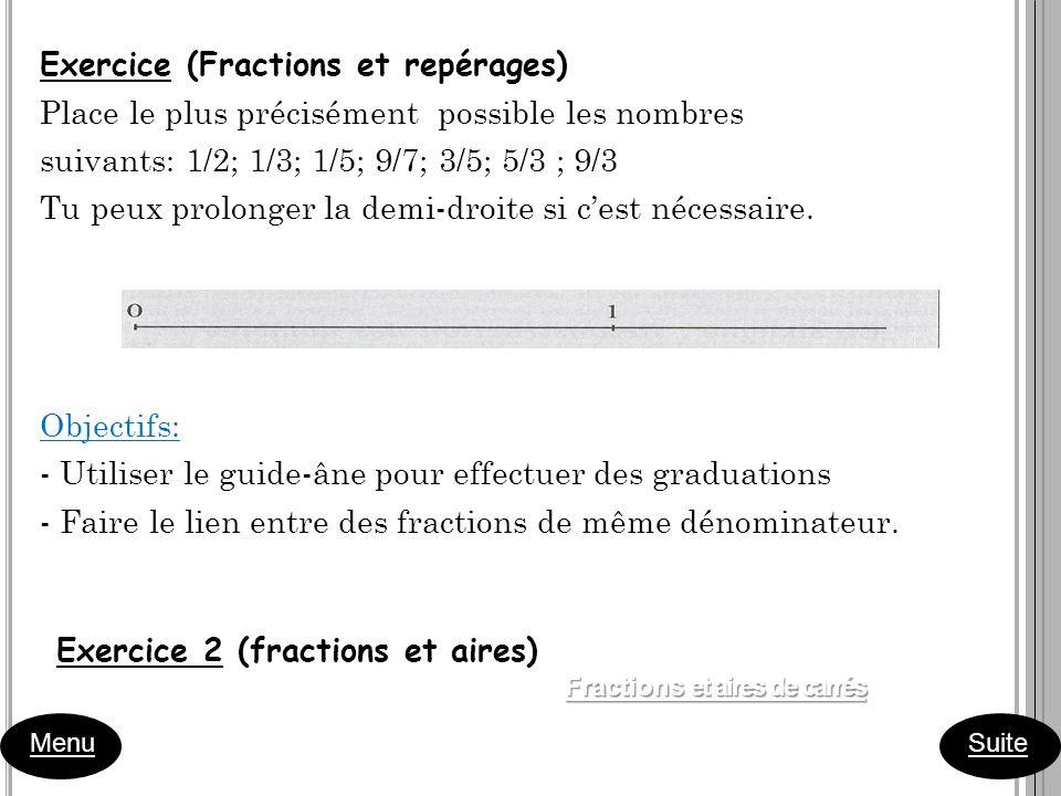 Menu Suite Exercice (Fractions et repérages) Place le plus précisément possible les nombres suivants: 1/2; 1/3; 1/5; 9/7; 3/5; 5/3 ; 9/3 Tu peux prolo