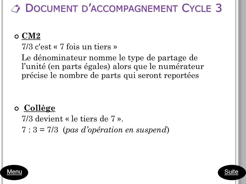 D OCUMENT D ACCOMPAGNEMENT C YCLE 3 D OCUMENT D ACCOMPAGNEMENT C YCLE 3 Menu CM2 7/3 c'est « 7 fois un tiers » Le dénominateur nomme le type de partag