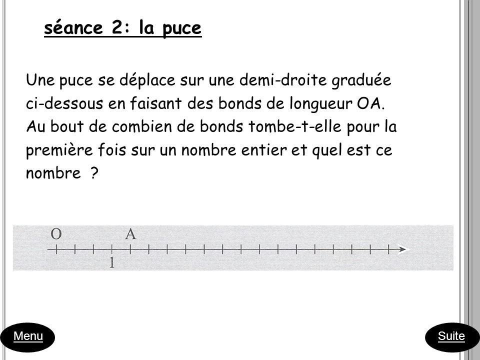 séance 2: la puce Menu Suite Une puce se déplace sur une demi-droite graduée ci-dessous en faisant des bonds de longueur OA. Au bout de combien de bon
