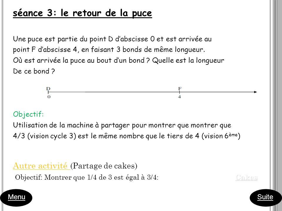 séance 3: le retour de la puce Une puce est partie du point D dabscisse 0 et est arrivée au point F dabscisse 4, en faisant 3 bonds de même longueur.