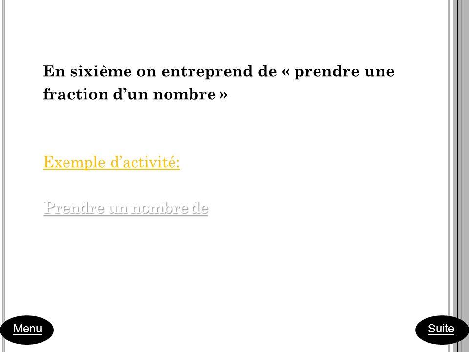 En sixième on entreprend de « prendre une fraction dun nombre » Exemple dactivité: Prendre un nombre de Prendre un nombre de Menu Suite