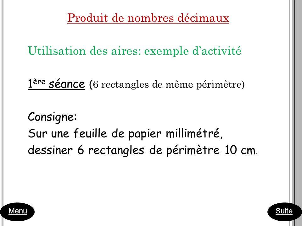 Produit de nombres décimaux Utilisation des aires: exemple dactivité 1 ère séance ( 6 rectangles de même périmètre) Consigne: Sur une feuille de papie