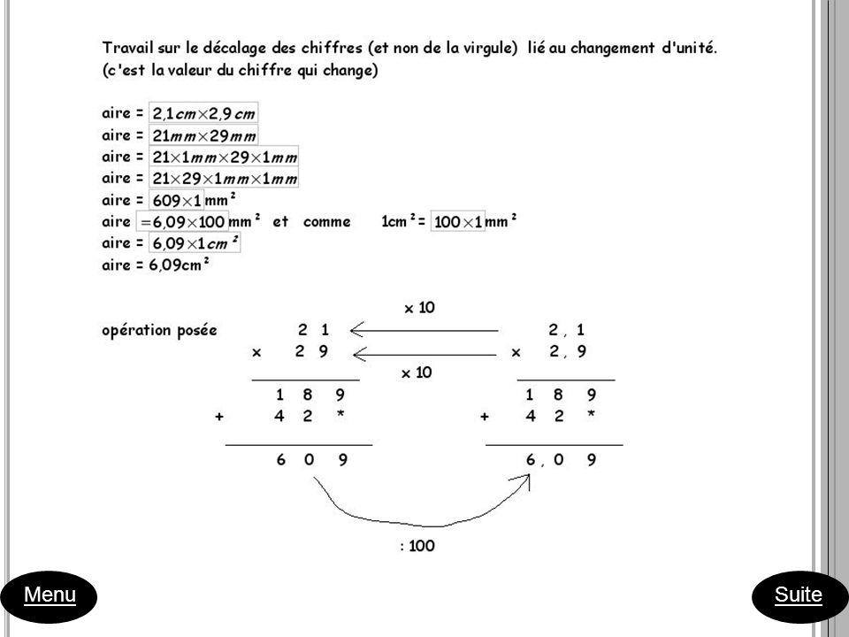 1 ère séance Consigne 1: Sur une feuille de papier millimétré, dessiner 6 rectangles de périmètre 10 cm. Menu Suite