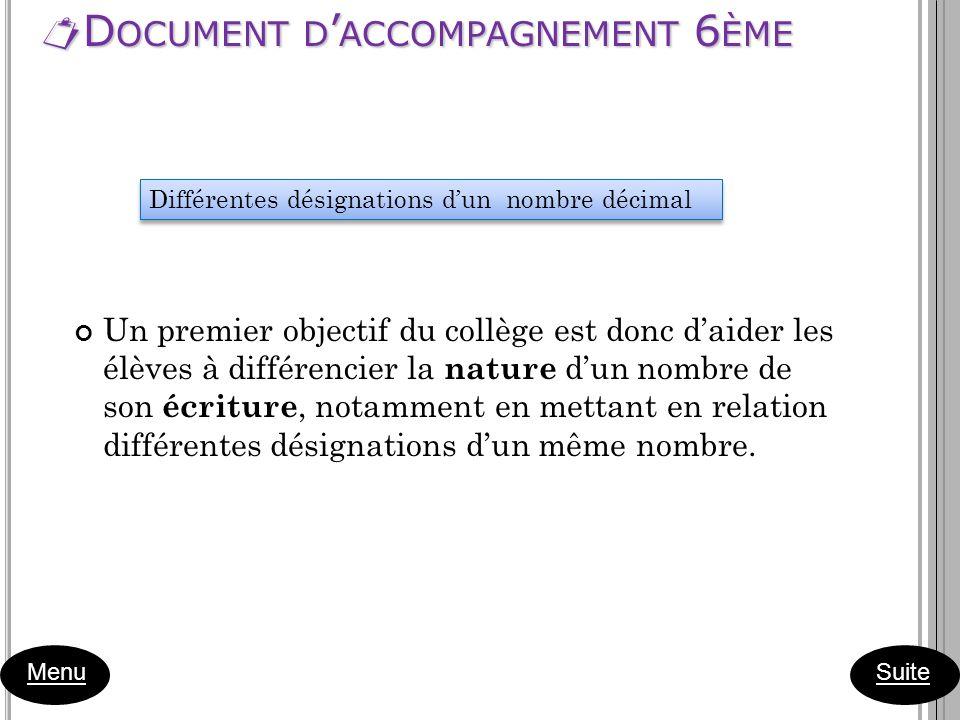 D OCUMENT D ACCOMPAGNEMENT 6 ÈME D OCUMENT D ACCOMPAGNEMENT 6 ÈME Menu Un premier objectif du collège est donc daider les élèves à différencier la nat