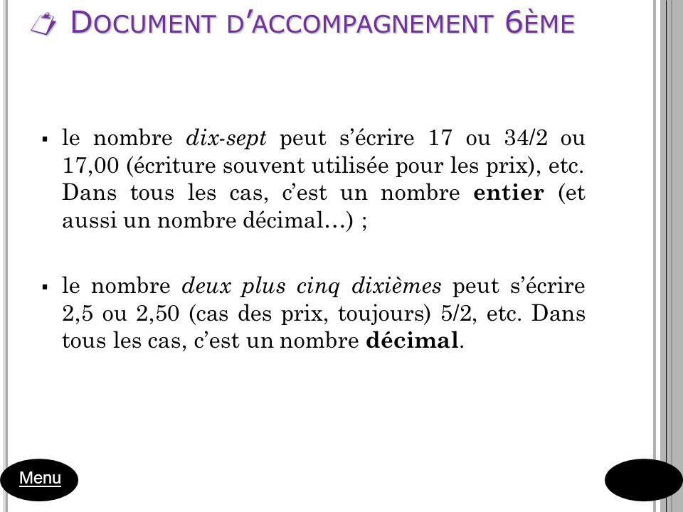 D OCUMENT D ACCOMPAGNEMENT 6 ÈME D OCUMENT D ACCOMPAGNEMENT 6 ÈME Menu le nombre dix-sept peut sécrire 17 ou 34/2 ou 17,00 (écriture souvent utilisée