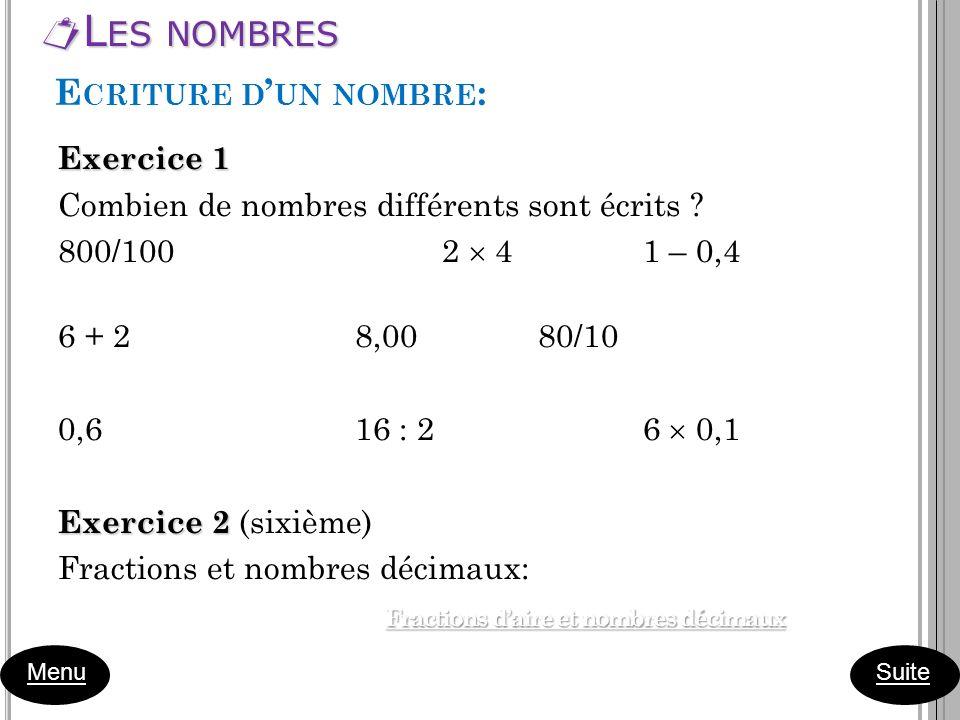 L ES NOMBRES L ES NOMBRES Menu Exercice 1 Combien de nombres différents sont écrits ? 800/100 2 4 1 – 0,4 6 + 2 8,00 80/10 0,6 16 : 2 6 0,1 Exercice 2
