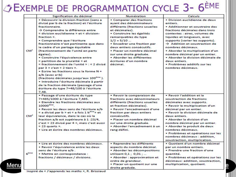 E XEMPLE DE PROGRAMMATION CYCLE 3- 6 ÈME E XEMPLE DE PROGRAMMATION CYCLE 3- 6 ÈME Menu Suite