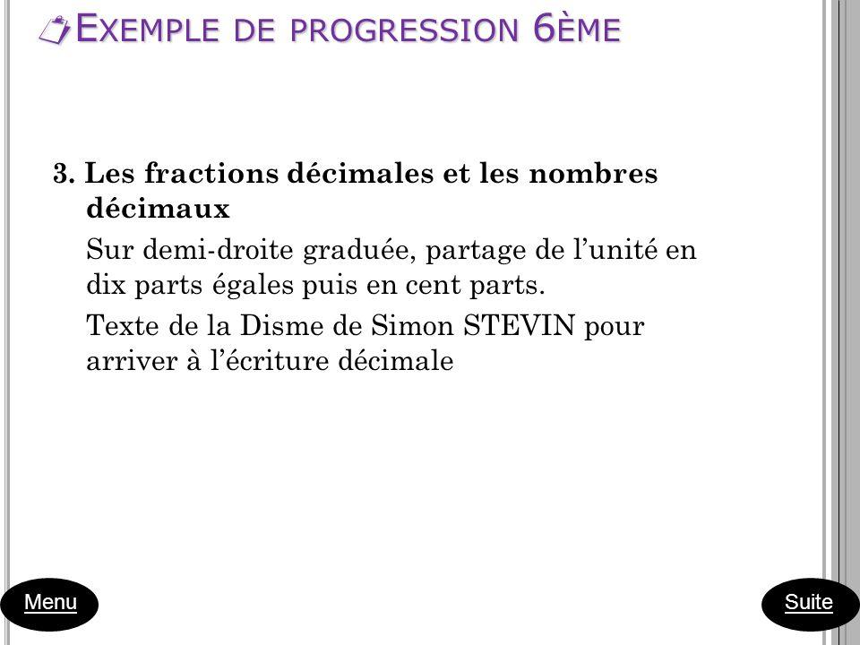 E XEMPLE DE PROGRESSION 6 ÈME E XEMPLE DE PROGRESSION 6 ÈME Menu 3. Les fractions décimales et les nombres décimaux Sur demi-droite graduée, partage d