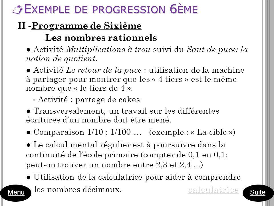 E XEMPLE DE PROGRESSION 6 ÈME E XEMPLE DE PROGRESSION 6 ÈME Menu II -Programme de Sixième Les nombres rationnels Activité Multiplications à trou suivi