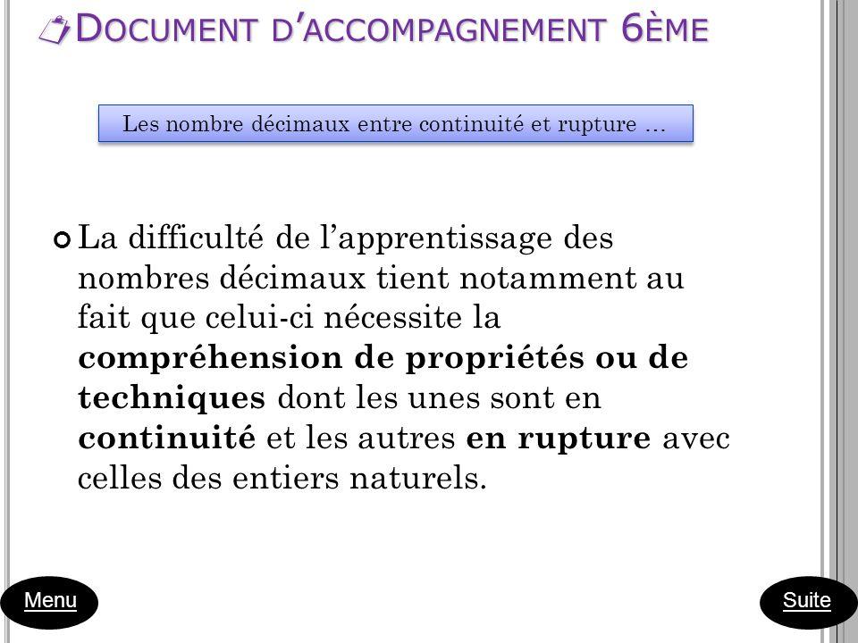 D OCUMENT D ACCOMPAGNEMENT 6 ÈME D OCUMENT D ACCOMPAGNEMENT 6 ÈME Menu La difficulté de lapprentissage des nombres décimaux tient notamment au fait qu