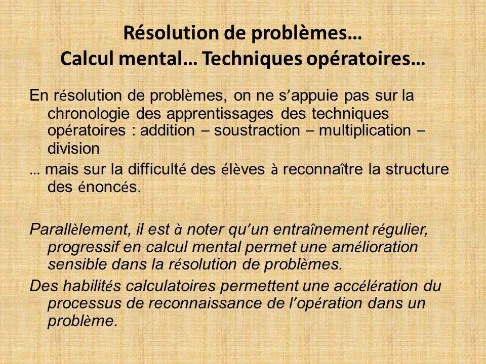 Résolution de problèmes… Calcul mental… Techniques opératoires… En r é solution de probl è mes, on ne s appuie pas sur la chronologie des apprentissag