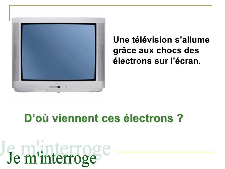 Une télévision sallume grâce aux chocs des électrons sur lécran. Doù viennent ces électrons ?