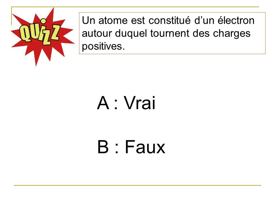 Un atome est constitué dun électron autour duquel tournent des charges positives. A : Vrai B : Faux