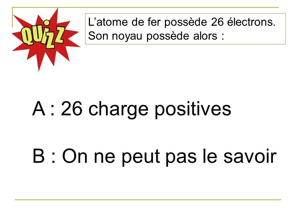 Latome de fer possède 26 électrons. Son noyau possède alors : A : 26 charge positives B : On ne peut pas le savoir