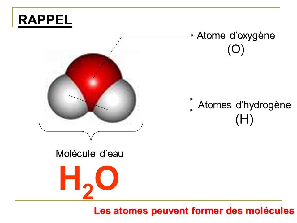 RAPPEL Molécule deau Atomes dhydrogène (H) Atome doxygène (O) H2OH2O Les atomes peuvent former des molécules
