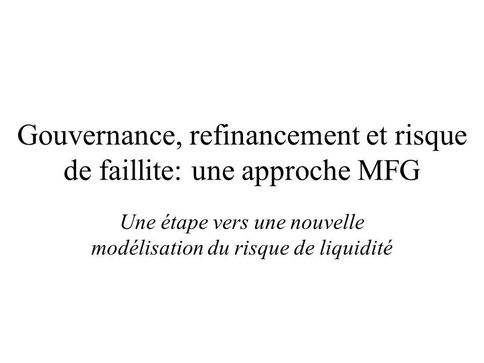 Gouvernance, refinancement et risque de faillite: une approche MFG Une étape vers une nouvelle modélisation du risque de liquidité