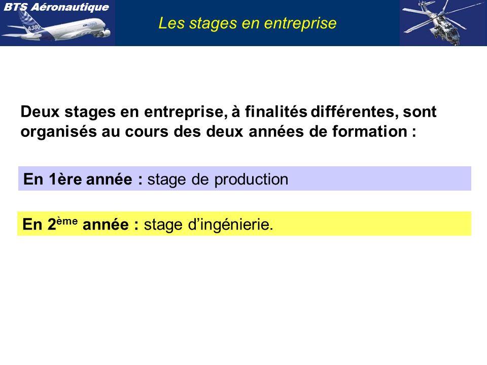BTS Aéronautique Les stages en entreprise STAGE DE PRODUCTION Acquérir : C09.