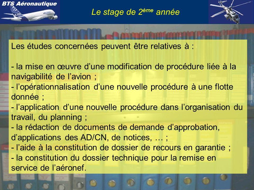 BTS Aéronautique Le stage de 2 ème année Exemples dactivités confiées aux stagiaires durant ce stage de 2 ème année : voir diaporama 11 – Stage de 2 ème année