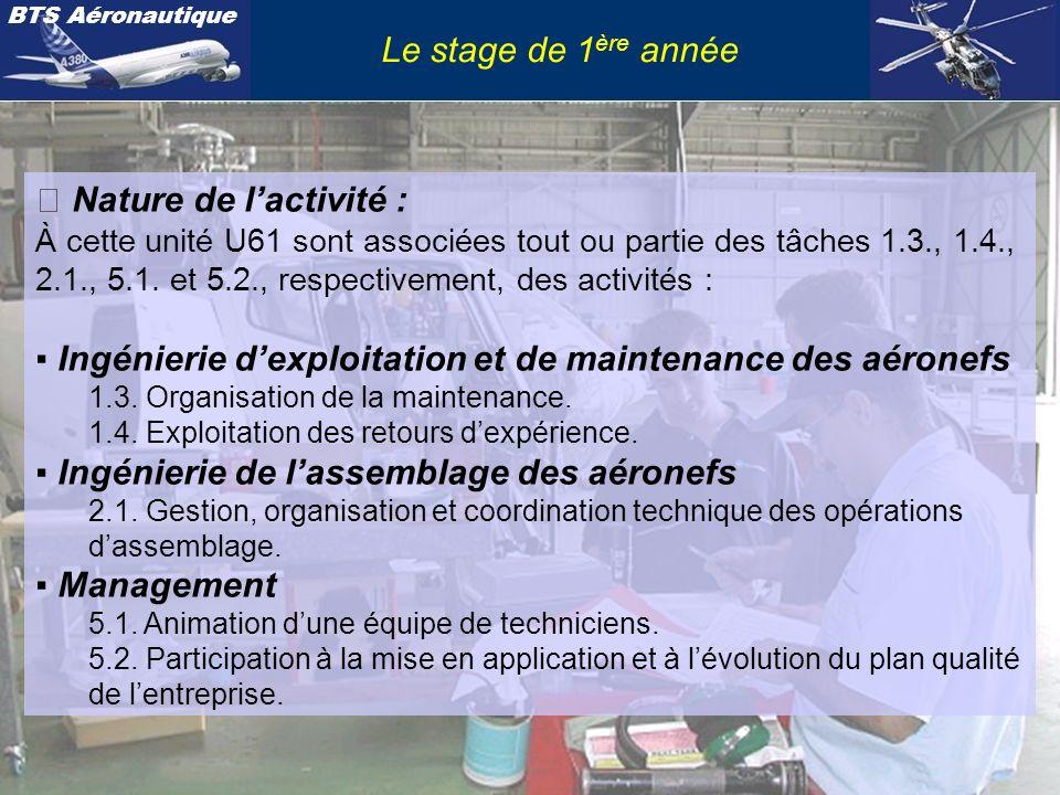 BTS Aéronautique Le stage de 1 ère année Les études concernées peuvent être relatives : - à la gestion dune équipe de techniciens dassemblage ou de maintenance ; - à lidentification des niveaux et des domaines de compétences des intervenants (habilitations, certifications …) ; - au positionnement de lactivité dans le planning de lunité dassemblage ou de maintenance (ordonnancement) ; - à des propositions dévolution des procédures réglementaires ; - au dialogue et à la collaboration avec les différents spécialistes métiers impliqués et avec les clients (notamment en anglais) ; - à la validation technico-économique et aux propositions éventuelles damélioration du processus.