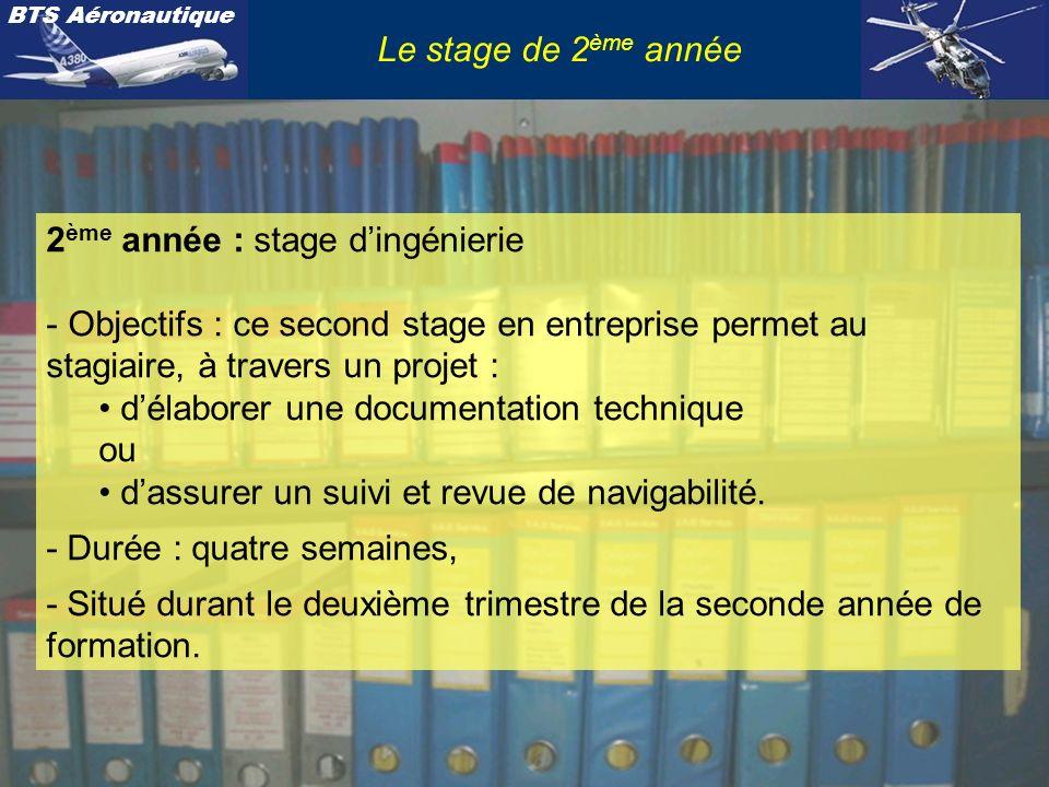 BTS Aéronautique Le stage de 2 ème année Contexte professionnel : - Fonction : Technicien support ingénierie appliquée et/ou contrôle.