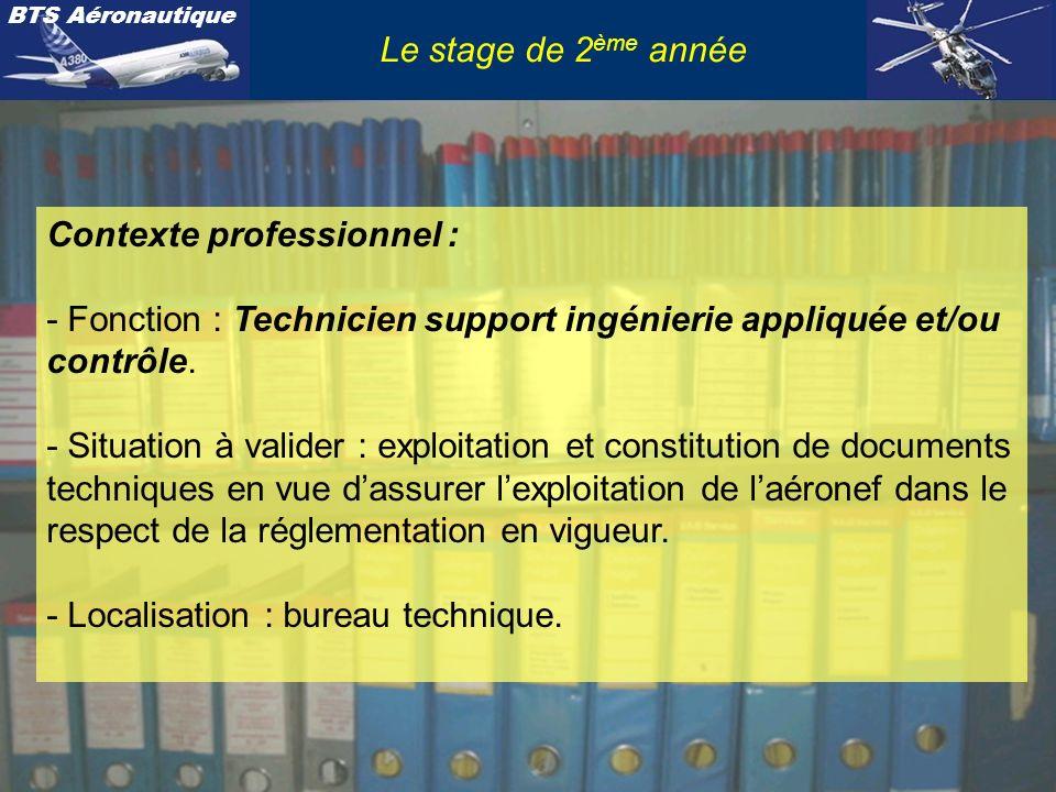 BTS Aéronautique Le stage de 2 ème année Nature de lactivité : À cette unité U62 sont associées tout ou partie des tâches 1.2., 1.3.