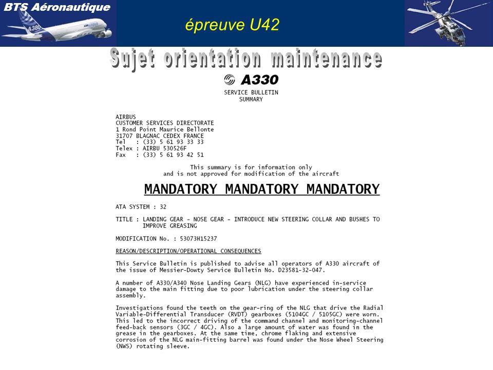 BTS Aéronautique épreuve U42