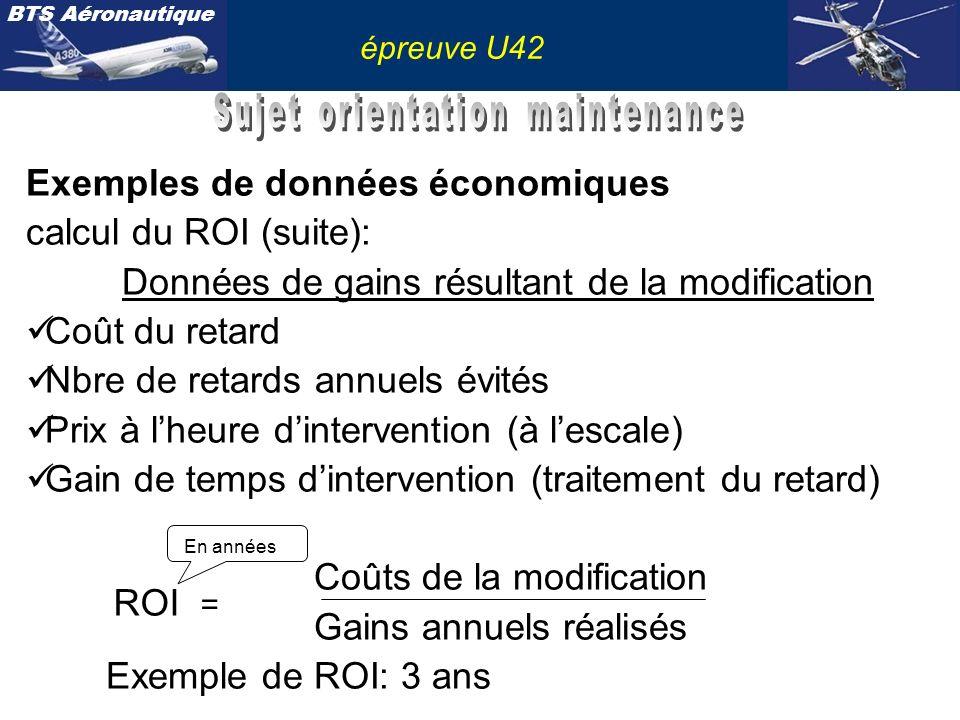 BTS Aéronautique épreuve U42 Exemples de données économiques calcul du ROI (suite): Données de gains résultant de la modification Coût du retard Nbre