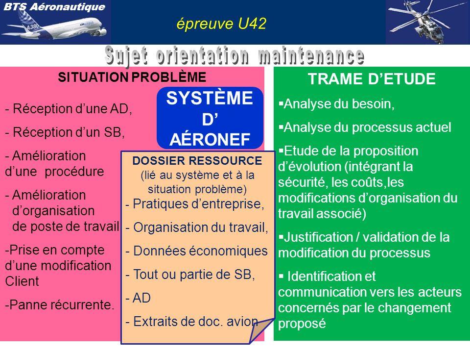 BTS Aéronautique épreuve U42 SITUATION PROBLÈME - Réception dune AD, - Réception dun SB, - Amélioration dune procédure - Amélioration dorganisation de