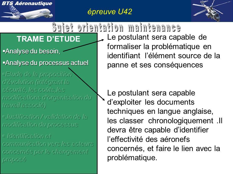 BTS Aéronautique épreuve U42 Le postulant sera capable de formaliser la problématique en identifiant lélément source de la panne et ses conséquences L