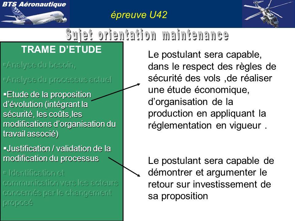 BTS Aéronautique épreuve U42 Le postulant sera capable didentifier lorganisation type dune entreprise de maintenance, de communiquer vers lexploitant et le constructeur sur la solution retenue, et de créer un document dapplication.(EO)