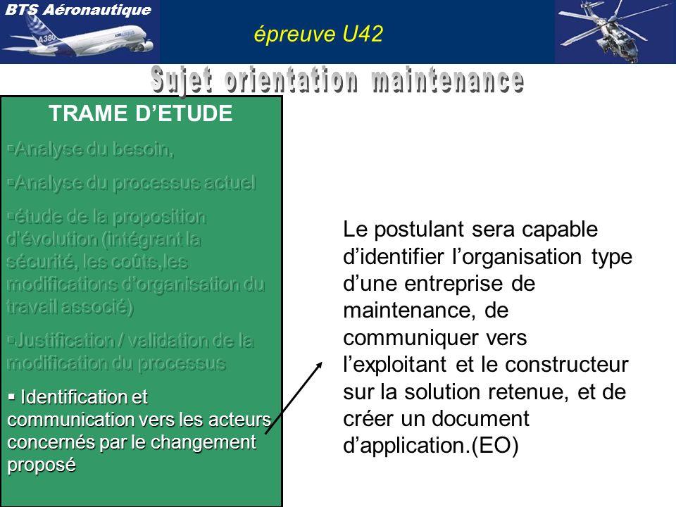 BTS Aéronautique épreuve U42 Le postulant sera capable didentifier lorganisation type dune entreprise de maintenance, de communiquer vers lexploitant