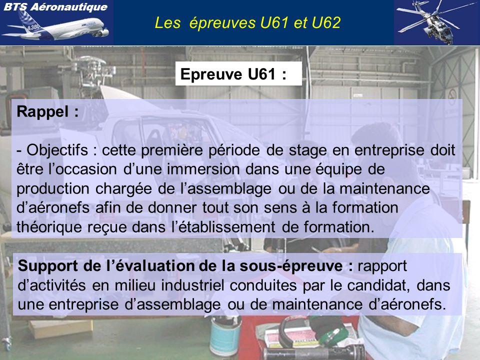 BTS Aéronautique Les épreuves U61 et U62 Epreuve U61 : Rappel : - Objectifs : cette première période de stage en entreprise doit être loccasion dune i