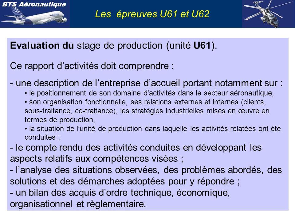 BTS Aéronautique Evaluation du stage de production (unité U61). Ce rapport dactivités doit comprendre : - une description de lentreprise daccueil port