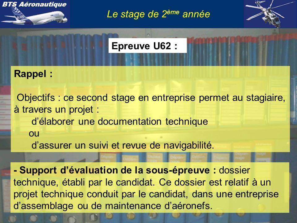 BTS Aéronautique Le stage de 2 ème année Rappel : Objectifs : ce second stage en entreprise permet au stagiaire, à travers un projet : délaborer une d