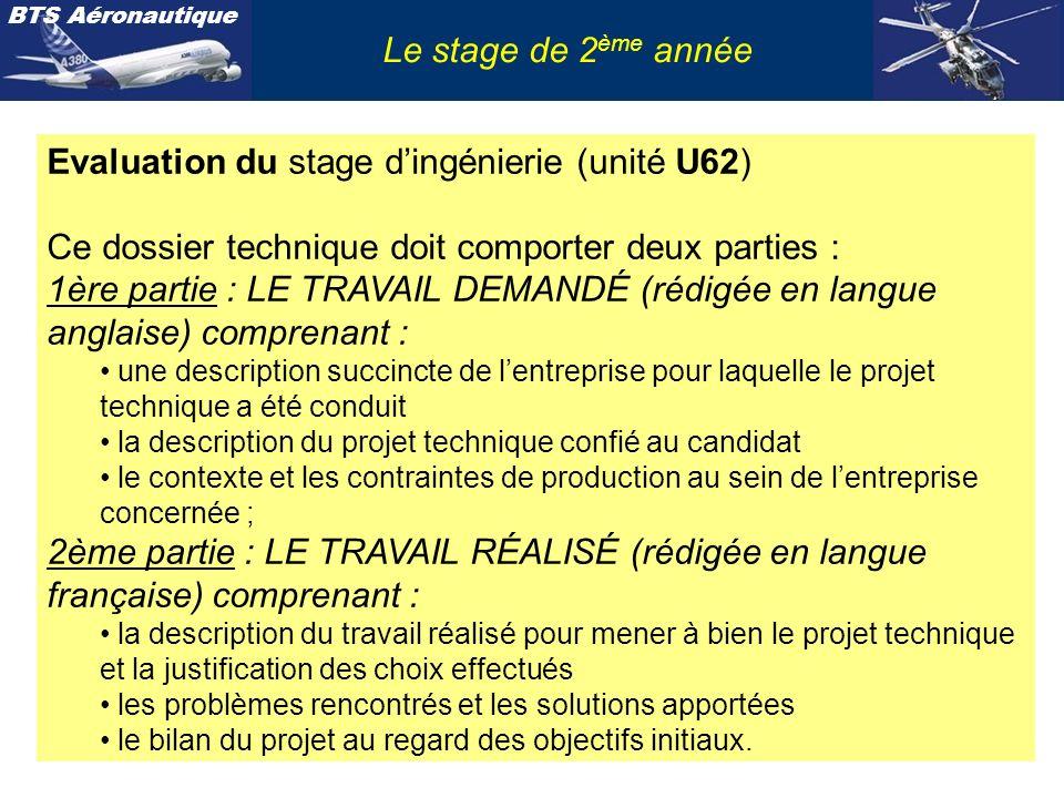 BTS Aéronautique Le stage de 2 ème année Evaluation du stage dingénierie (unité U62) Ce dossier technique doit comporter deux parties : 1ère partie :