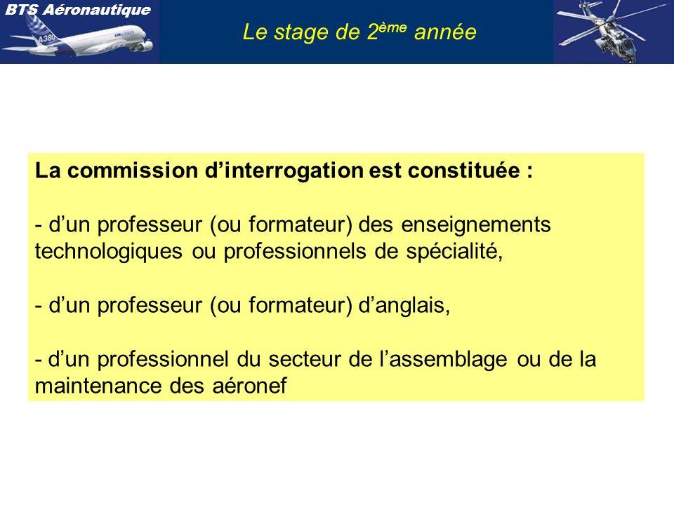 BTS Aéronautique Le stage de 2 ème année La commission dinterrogation est constituée : - dun professeur (ou formateur) des enseignements technologique