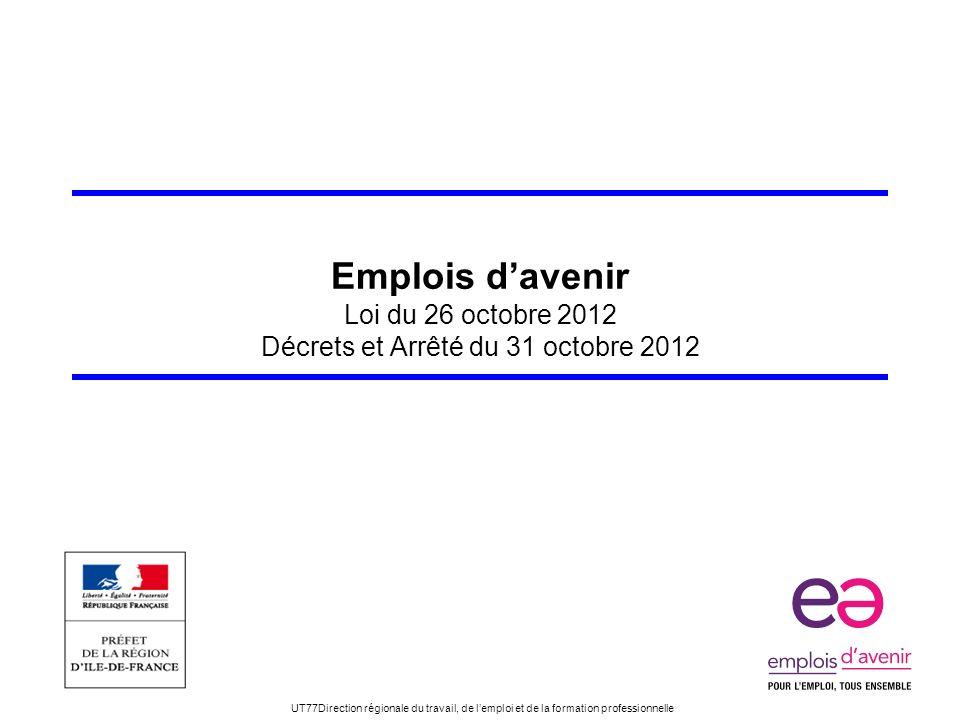 UT77Direction régionale du travail, de lemploi et de la formation professionnelle Emplois davenir Loi du 26 octobre 2012 Décrets et Arrêté du 31 octob