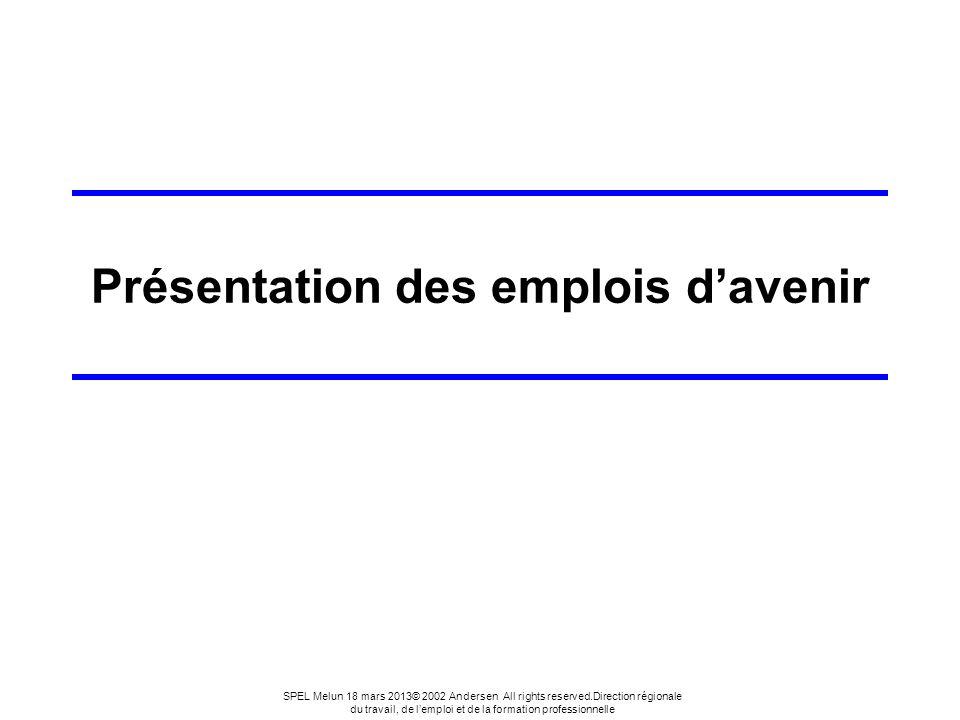 13 SPEL Melun 18 mars 2013© 2002 Andersen All rights reserved.Direction régionale du travail, de lemploi et de la formation professionnelle La formation Au centre du dispositif.
