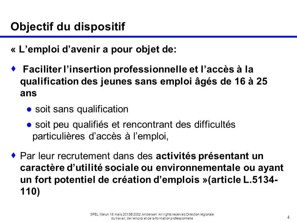 4 SPEL Melun 18 mars 2013© 2002 Andersen All rights reserved.Direction régionale du travail, de lemploi et de la formation professionnelle Objectif du