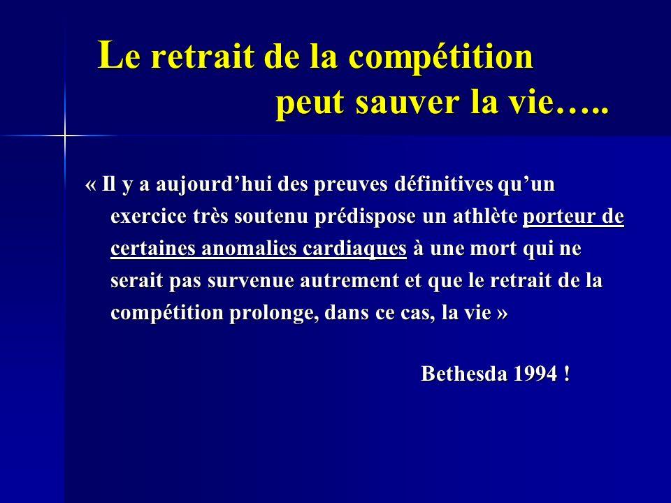 L e retrait de la compétition peut sauver la vie….. L e retrait de la compétition peut sauver la vie….. « Il y a aujourdhui des preuves définitives qu