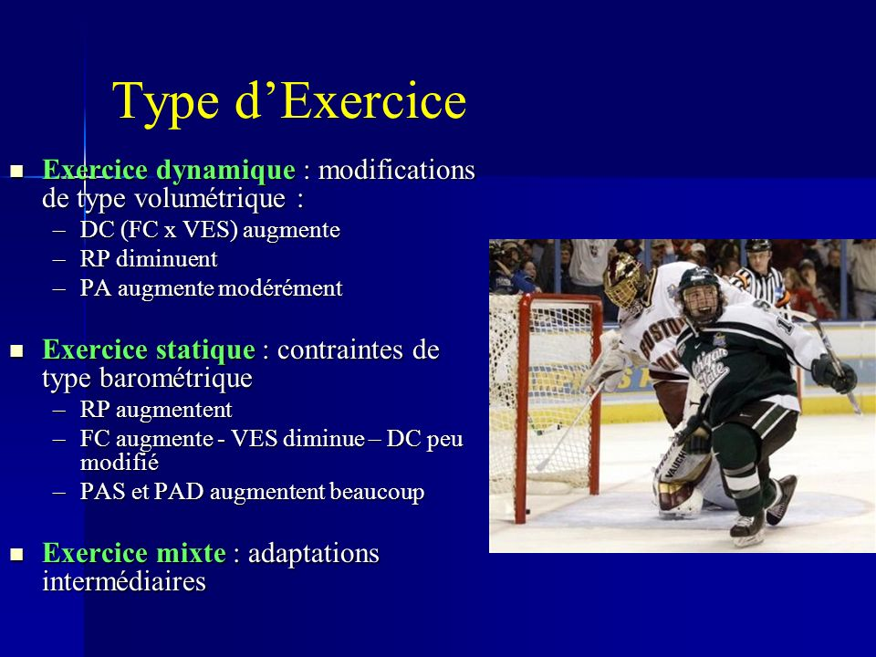 Type dExercice Exercice dynamique : modifications de type volumétrique : Exercice dynamique : modifications de type volumétrique : –DC (FC x VES) augmente –RP diminuent –PA augmente modérément Exercice statique : contraintes de type barométrique Exercice statique : contraintes de type barométrique –RP augmentent –FC augmente - VES diminue – DC peu modifié –PAS et PAD augmentent beaucoup Exercice mixte : adaptations intermédiaires Exercice mixte : adaptations intermédiaires