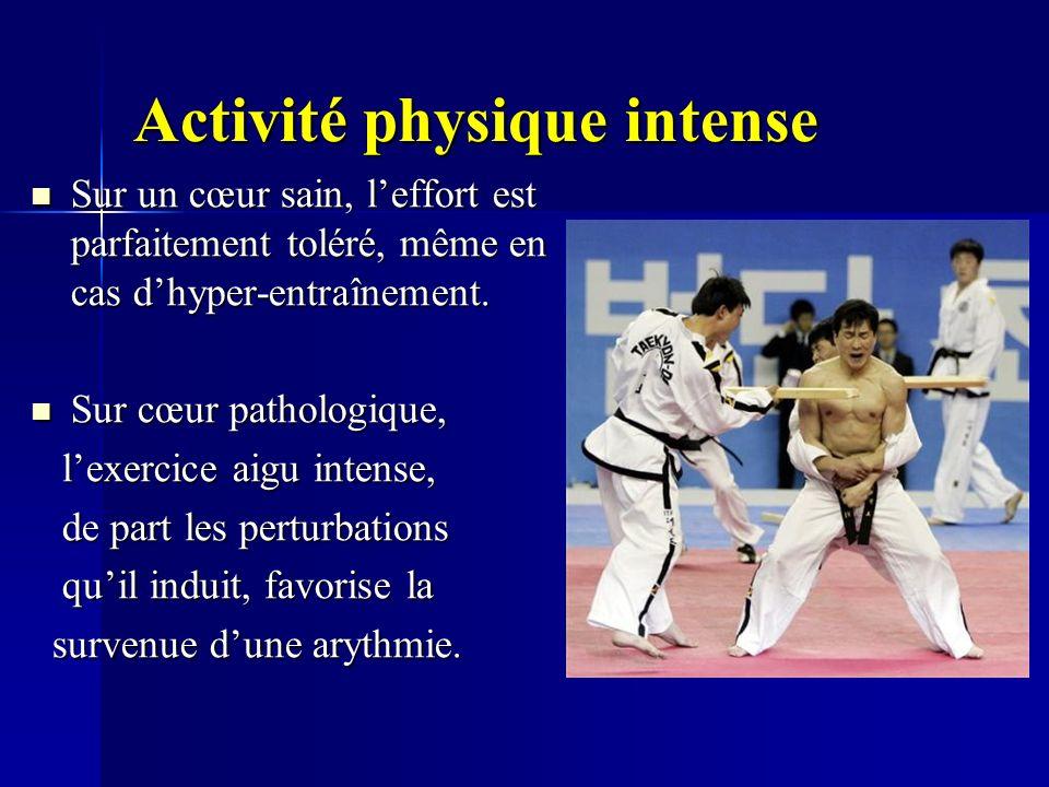Activité physique intense Sur un cœur sain, leffort est parfaitement toléré, même en cas dhyper-entraînement. Sur un cœur sain, leffort est parfaiteme